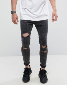 Bershka Super Skinny Jeans With Heavy Rips In Black afbeelding