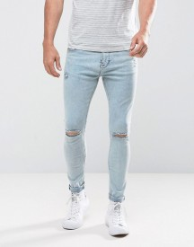 Bershka Super Skinny Jeans With Rips In Acid Wash afbeelding