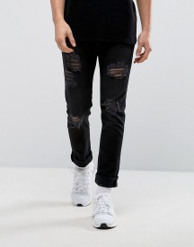 Black Kaviar Skinny Jeans With Ripped Knees afbeelding