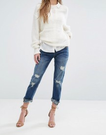 Blank Nyc Crop Girlfriend Jean With Raw Hems And Rips afbeelding