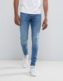 Blend Lunar Super Skinny Jean Ripped Mid Blue Wash afbeelding