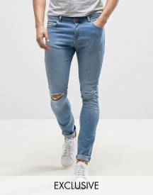 Brooklyn Supply Co Light Washed Denim Dyker Jeans In Super Skinny Fit With Distressing afbeelding