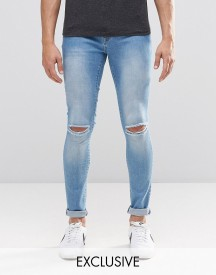 Brooklyn Supply Co Light Washed Denim Dyker Jeans With Knee Slit In Super Skinny Fit afbeelding