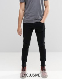 Brooklyn Supply Co Washed Black Dyker Super Skinny Jeans afbeelding