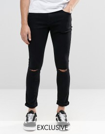 Brooklyn Supply Co Washed Black Dyker Super Skinny Jeans With Knee Slit afbeelding