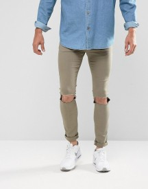 Brooklyn Supply Co Washed Khaki Bashed Knee Skinny Jeans afbeelding