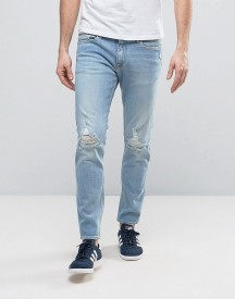 Calvin Klein Jeans Busted Knee Light Wash Jeans In Skinny Fit afbeelding