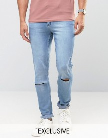 Cheap Monday Jeans Tight Skinny Fit Stonewash Blue Ripped Knee afbeelding