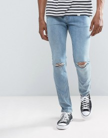 Cheap Monday Tight Skinny Jeans Spear Blue Knee Rip afbeelding