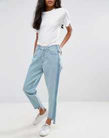Chorus Contrast Panelling Stepped Hem High Waisted Straight Jean afbeelding