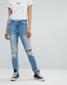 Daisy Street Mom Jeans With Distressing And Paint Splash afbeelding