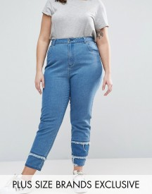 Daisy Street Plus Mom Jean With Patchwork Ripped Hem afbeelding
