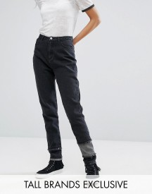 Daisy Street Tall Mom Jean With Patchwork Ripped Hem afbeelding