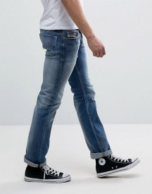 Diesel Safado Straight Fit Jeans 84dd Mid Wash Abrasisions afbeelding