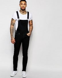Dr Denim Ira Skinny Dungaree Jeans In Black afbeelding