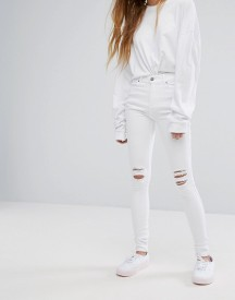 Dr Denim Lexy Mid Rise Second Skin Super Skinny Ripped Knee Jeans afbeelding