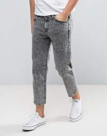 Dr Denim Otis Straight Cropped Fit Jean Stone Acid Wash Grey afbeelding