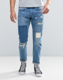Edwin Ed-55 Regular Tapered Jeans Pulled Wash Rainbow Selvedge Rip And Repair afbeelding