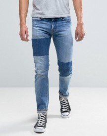 Edwin Ed-80 Slim Tapered Jeans Light Sheild Wash Dye Patches afbeelding