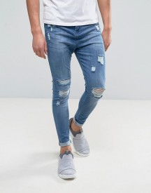 Good For Nothing Super Skinny Jeans In Blue With Distressing afbeelding