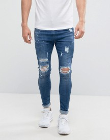 Good For Nothing Super Skinny Jeans In Dark Blue With Distressing afbeelding