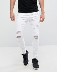 Good For Nothing Super Skinny Jeans In White With Distressing afbeelding