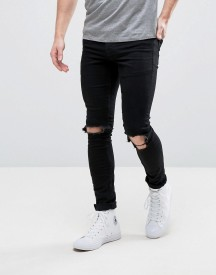 Hoxton Denim Extreme Skinny Black Jeans With Busted Knees afbeelding
