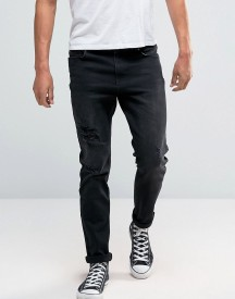 Hoxton Denim Jeans Grey Rip And Repair Skinny With Patch afbeelding