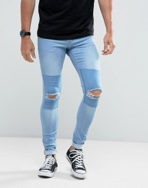 Hoxton Denim Light Wash Extreme Skinny Jeans With Knee Rips And Patch afbeelding