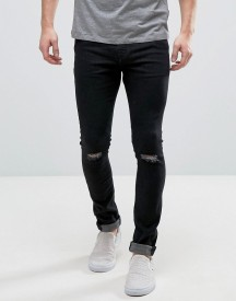 Hoxton Denim Super Skinny Black Jeans With Knee Rip afbeelding