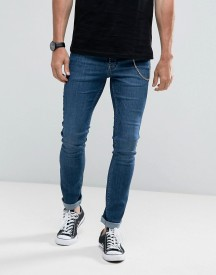 Hoxton Denim Super Skinny Jeans In Mid Wash With Chain afbeelding
