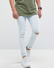 Hoxton Denim Super Skinny Light Wash Jeans With Knee Rip afbeelding