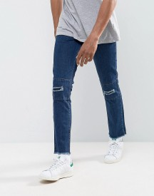 Hoxton Denim Vintage Cropped Patchwork Slim Fit Jeans With Raw Hem And Rips afbeelding