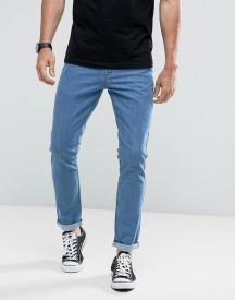 Hoxton Denim Vintage Cropped Slim Fit Jeans With Rolled Hem In Mid Wash afbeelding