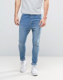 Illusive London Super Skinny Jeans In Blue With Dropped Crotch afbeelding