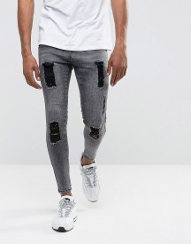 Illusive London Super Skinny Jeans In Acid Wash Black With Distressing afbeelding