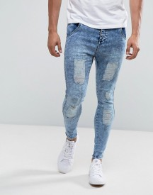 Illusive London Super Skinny Jeans In Acid Wash Blue With Distressing afbeelding