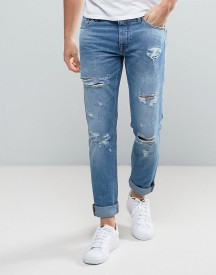 Jack & Jones Intelligence Jeans In Slim Fit With Open Rips afbeelding