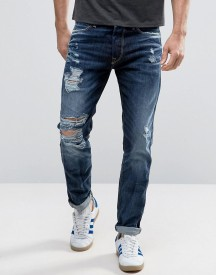Jack & Jones Intelligence Jeans In Tapered Fit Heavy Ripped Jeans afbeelding