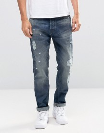 Jack & Jones Intelligence Light Blue Washed Jeans In Anti Fit With Rip Repair Detail afbeelding