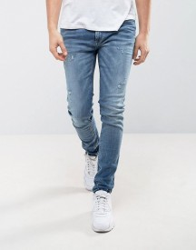 Jack & Jones Intelligence Skinny Fit Jeans In Blue afbeelding