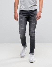 Jack & Jones Intelligence Skinny Fit Jeans In Washed Grey With Rip Repair Detail afbeelding
