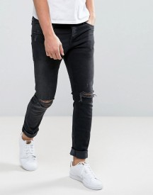 Jack & Jones Intelligence Slim Fit Jeans In Black Wash With Knee Rips afbeelding