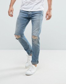 Jack & Jones Intelligence Slim Fit Jeans In Light Blue Wash With Knee Rips afbeelding