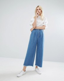 J.o.a Wide Leg Jeans With Raw Hem afbeelding