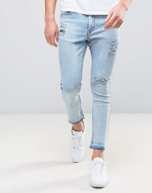 Kubban Spray On Jeans With Knee Rips And Unrolled Hems afbeelding