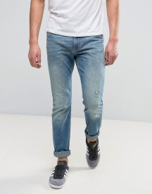 Lee Rider Stretch Slim Jeans Seatone Damage Wash afbeelding
