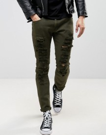 Liquor & Poker Green Wash Extreme Rips Slim Jeans afbeelding
