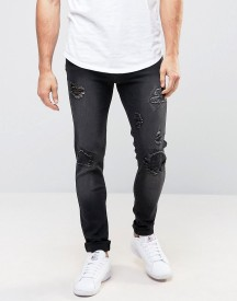 Liquor N Poker Black Patch Behind Patch Skinny Jeans afbeelding