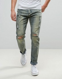 Liquor & Poker Slim Jeans Ripped Dirty Brush Wash afbeelding